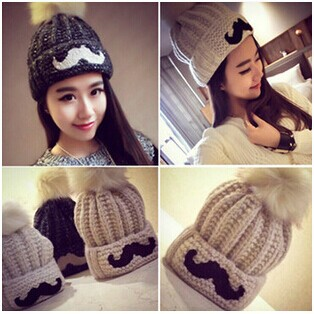 2015 New Cute Mustache Design Women Hair Top Hats Winter Fashion Wool Knitted Headwear Free Size - Miss Lady CC store