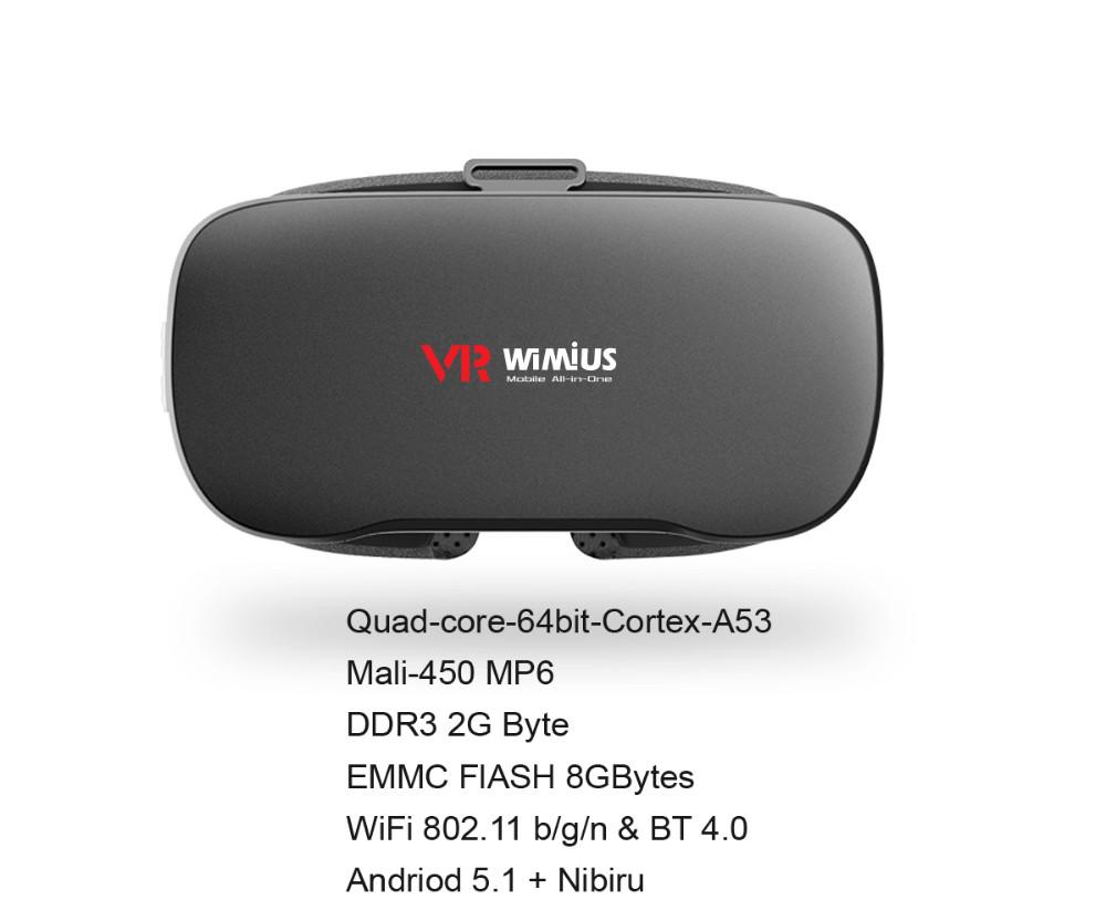 ถูก Wimiusทั้งหมดในหนึ่งVRชุดหูฟังแว่นตา3DเสมือนจริงชุดหูฟังWifiบลูทูธ4.0 1080จุดFull HD 5.5นิ้วจอแสดงผลดรอยด์VRกล่อง