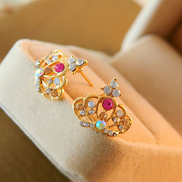 Fashion Crown Rhinestone Colorful stud earrings women Statement earrings for party free shipping<br><br>Aliexpress