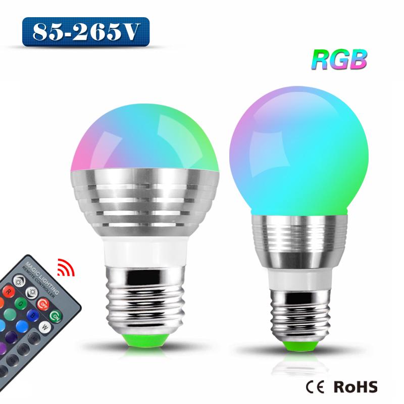 Remote control Dimmable E27 3W 85-265V 110V 220V RGB LED Stage light LED Ball Bulb lamp Atmosphere LED Night light + IR Remote(China (Mainland))