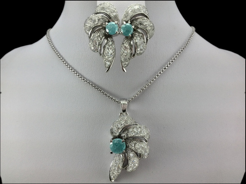 EEL beautiful flowers 18K White Gold Plated Jewelry Necklace Earring Set Made Austrian Crystals  -  fashion jewelry store store