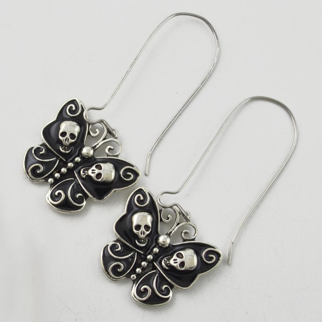 Phenovo Elegant Vintage Retro Skull Butterfly Drop Earrings Black Women for Halloween Earring Gothic Party Prom Class Wedding