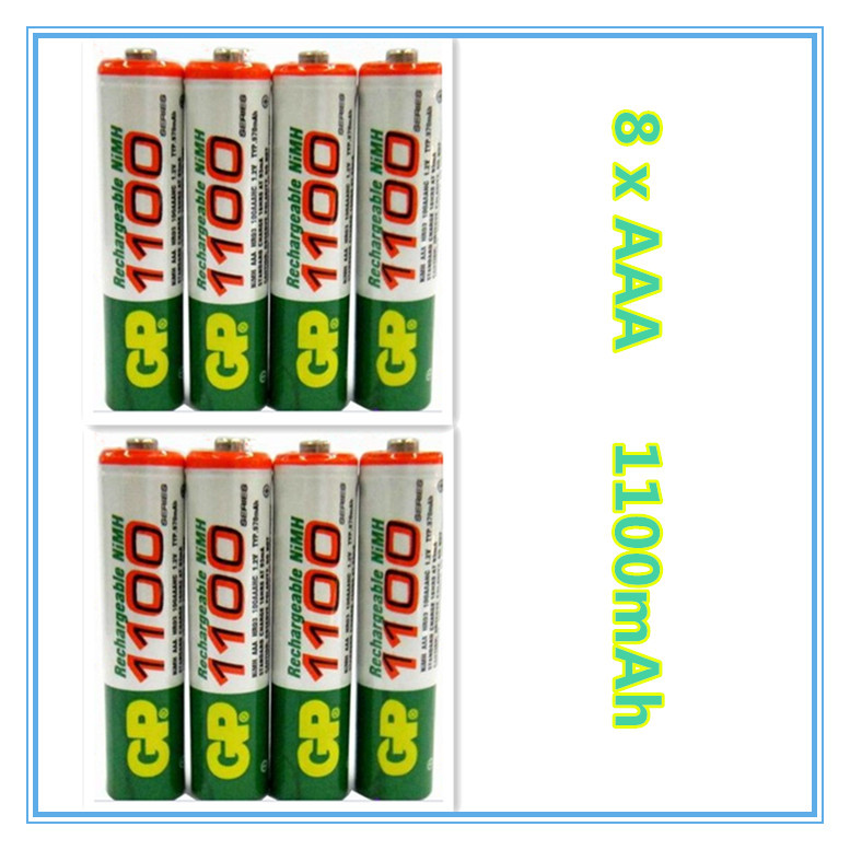 Free ship!! Hot Sale 8pcs High Power AAA 1100MAH/1.2V GP Rechargeable NiMH Battery 1100 mAh New Batteries(China (Mainland))