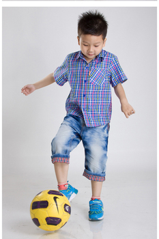 2013 Summer New Stylish Short-sleeve Turn-down Collar Plaid Children's Clothing Shirt, handsome boy  A0018