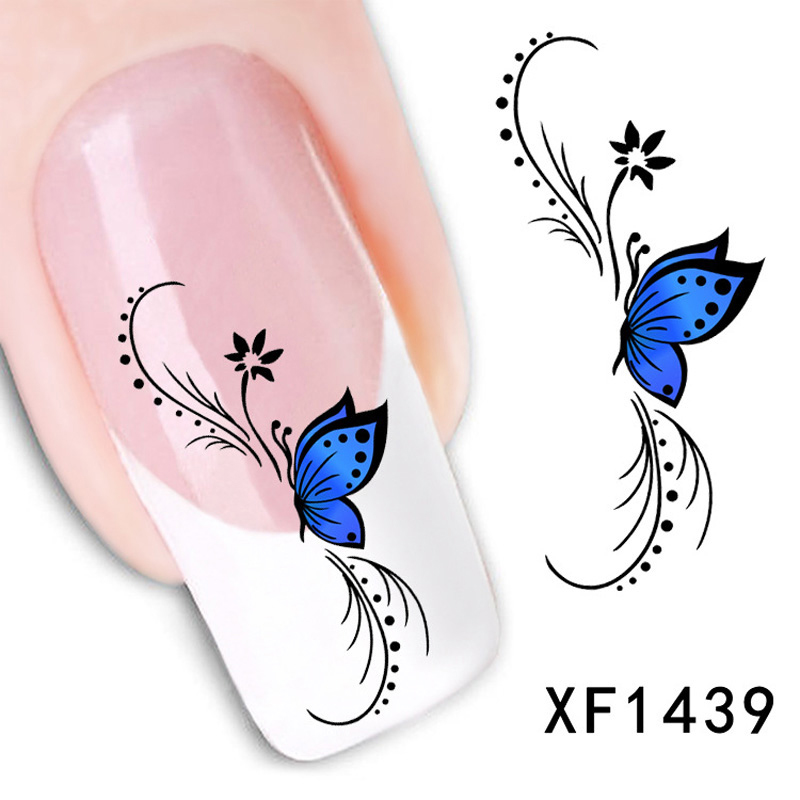 Fashion Blue Style Design Tip Nail Art Decorations Stickers Nails Water Decals Mix Color Manicure Tools  -  Wellcome sotre store