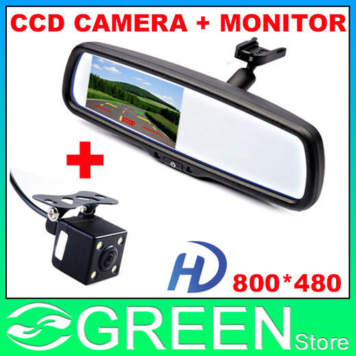 Auto Parking Assistance System, Original Bracket Car RearView Mirror Monitor + HD CCD Night Vision Car Parking Rear view Camera(China (Mainland))
