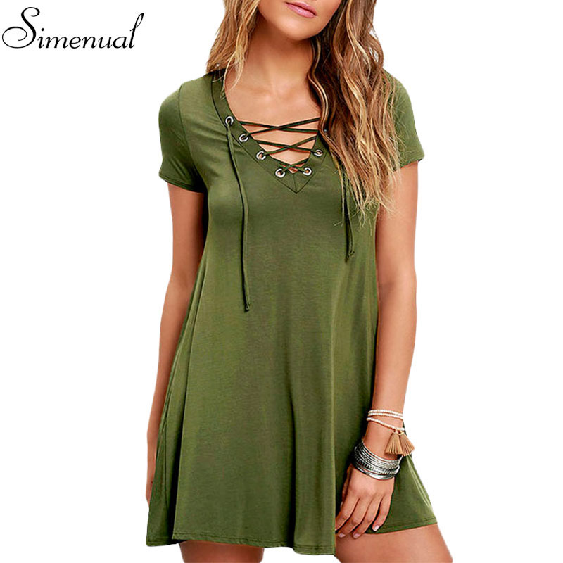 Lace up 2016 casual summer dress new arrival solid slim sexy short bandage dress women clothing hot sale dresses ladies 4 colors(China (Mainland))