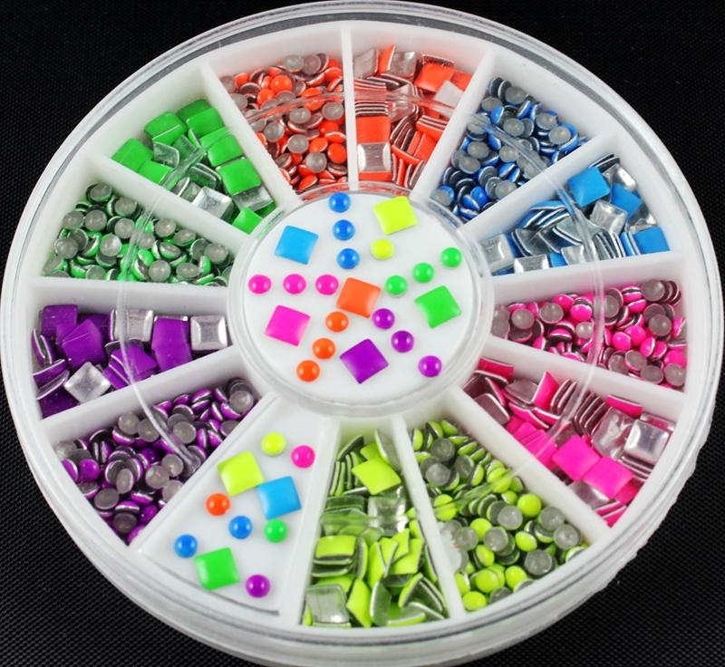 Blueness 6 Neon Color Plating Square Round Design For Nail Art Tips Charms 3D Nails DIY Glitter Wheel Manicure Decorations ZP010(China (Mainland))