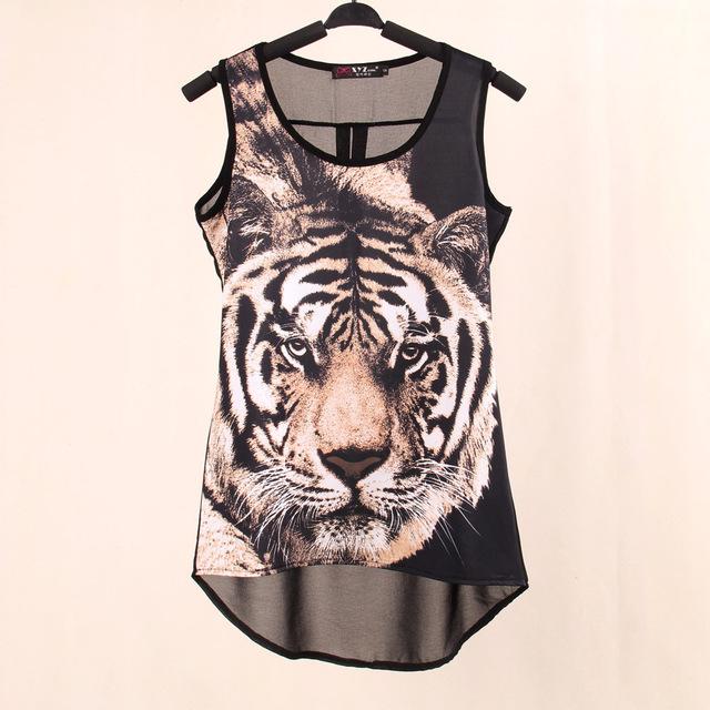 2014 Summer  Верхs Тканный Digital Printed Tiger Рукавless t рубашка Жилет Вязанный ...