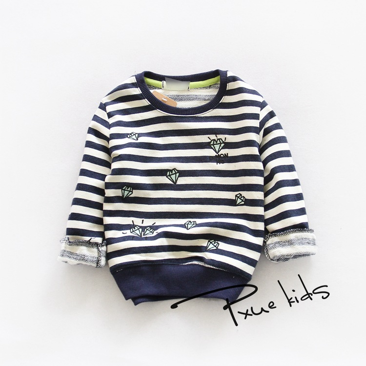 Simple striped diamond embroidery boys and girls cotton long-sleeved sweater Korean version of the classic for 2-7T 5pcs/lot<br><br>Aliexpress