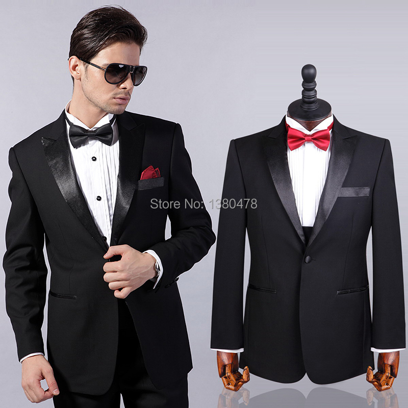 Free Shipping!one Buttons Black Groom Tuxedos Best Man Shiny Lapel Groomsmen Men Wedding Suits Bridegroom(Jacket+Pants+Tie)(China (Mainland))