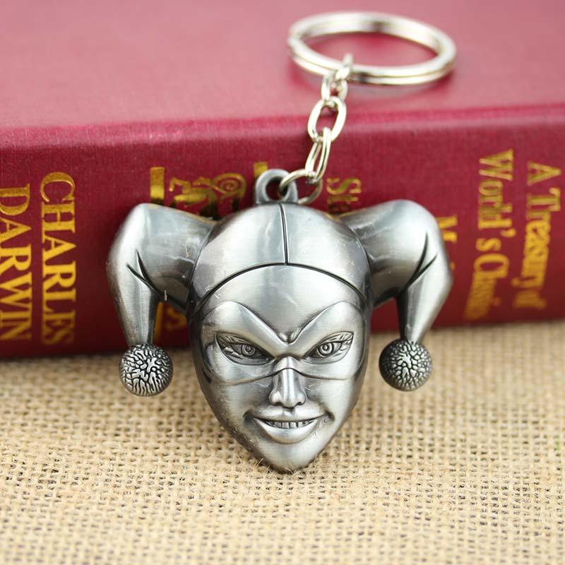 Batman Harley Quinn harlequin keychain 3D Head portrait Silver 6.5cm Metal Key chain Key Ring 10pc/lot