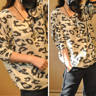 2015 autumn leopard print pattern loose batwing sleeve sweater plus size sweater female