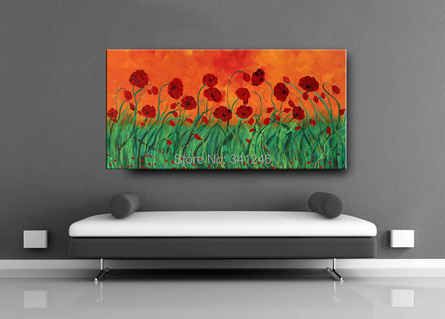 Buy NEW Hand-painted modern home decor wall art picture red green poppy thick paint palette knife oil painting on canvas cheap