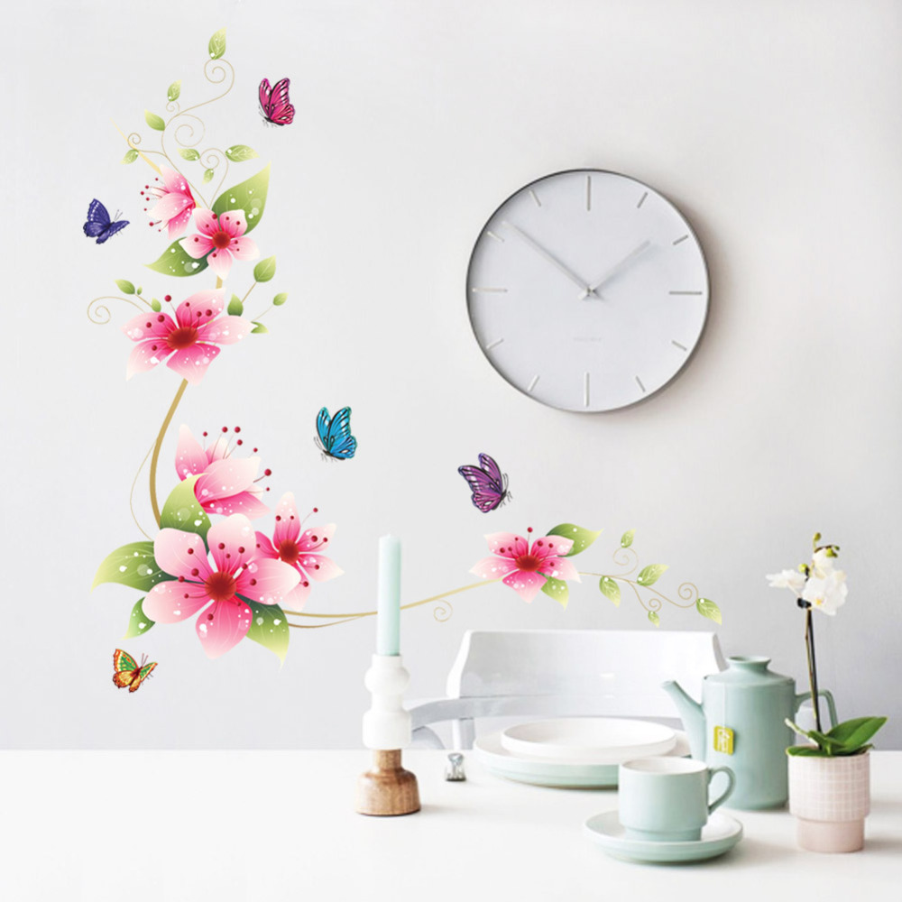 5 design small sakura flower wall stickers bedroom room pvc decal mural arts diy zooyoo6008 home decorations decals posters - ZooYoo Wall Sticker Manufacturer store