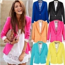 New Spring 2015 Tops ZA blazer women candy coat jacket Foldable outerwear coat jackets one button