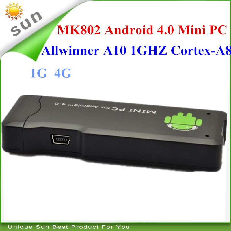 High quality best selling MK802 android 4.0 mini pc TV stick RAM 1G ROM 4G Allwinner A9 single core android tv box(China (Mainland))