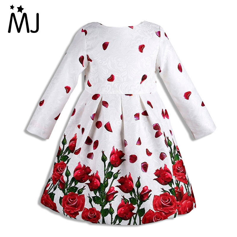 Girl Long Sleeve 2016 Brand Princess Dress Clothes Rose Flower Kids Costumes Bow Dresses - MJ store