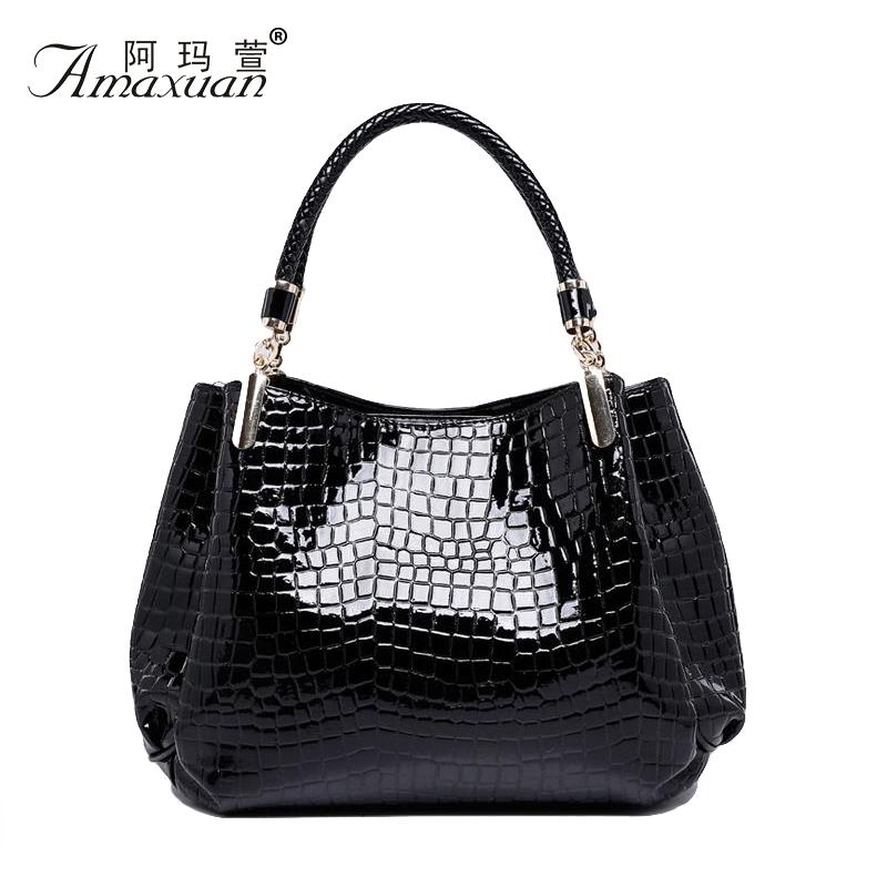 Burst models in Europe and America crocodile handbag upscale glossy patent leather shoulder bag crocodile bag stone grain BH1089<br><br>Aliexpress