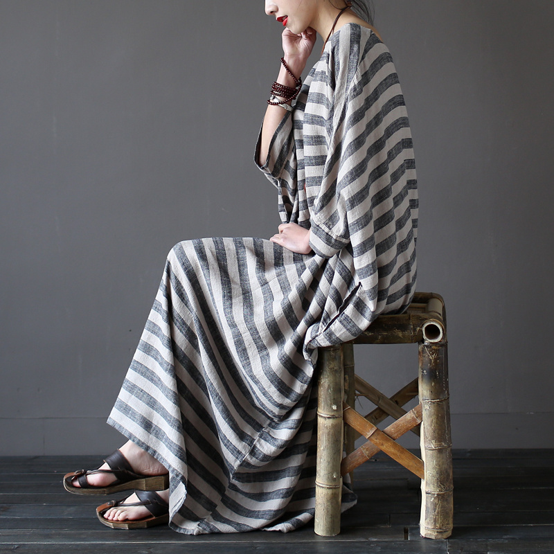 Women summer linen robe dress loose plus size Striped dresses literary O-neck three quarter sleeve mid-calf vintage - Werainyee Store store