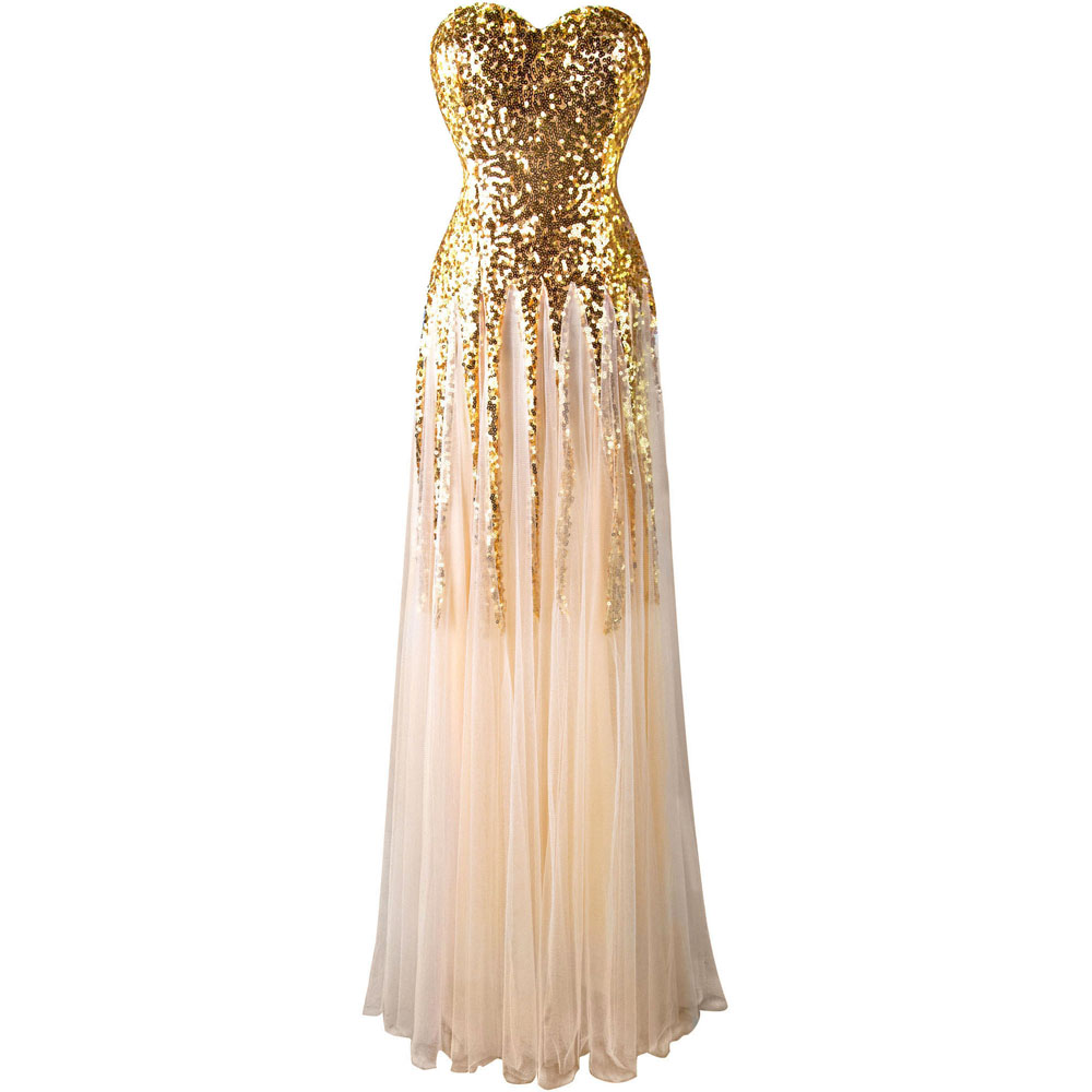 angel fashions new sweetheart golden sequins mesh lace up long evening dress in evening dresses. Black Bedroom Furniture Sets. Home Design Ideas