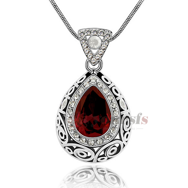 Charm Jewelry Water Drop Pendant Necklaces Simulation Diamond Ruby 18K White Gold Plated Necklace Pewter Drop Shipping N1146W7(China (Mainland))