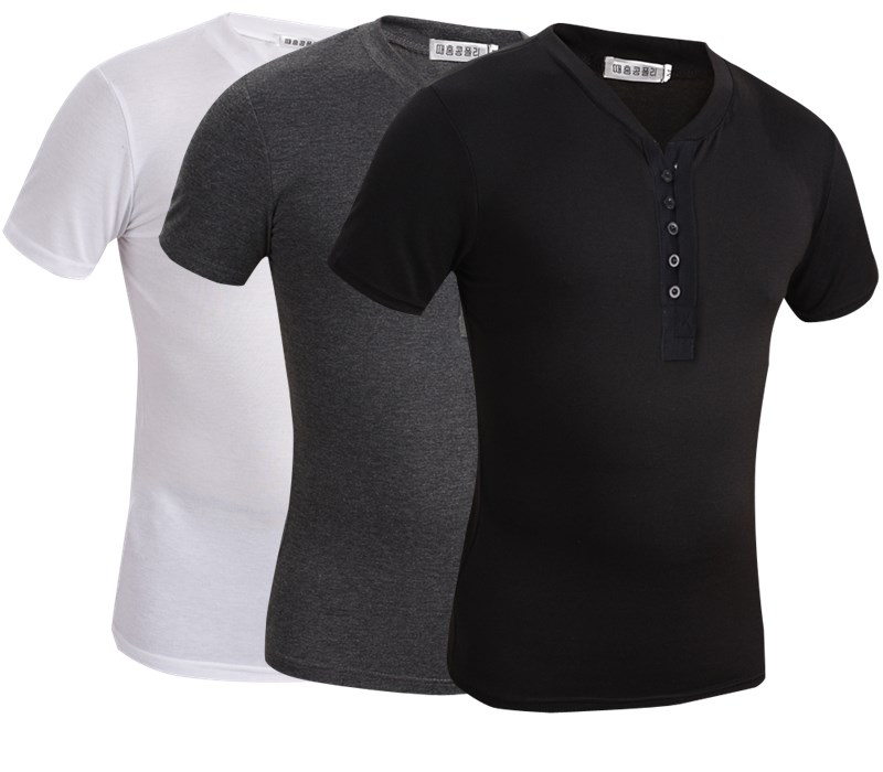 2015 HOT popular Summer fashion V-neck barreled casual all-match short-sleeve polo shirt male  -  Pike shop store