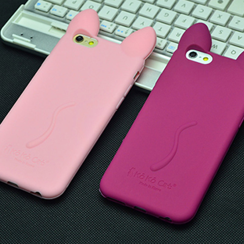 3D cute Koko Cat ear Soft Rubber silicone Cover For iPhone ...