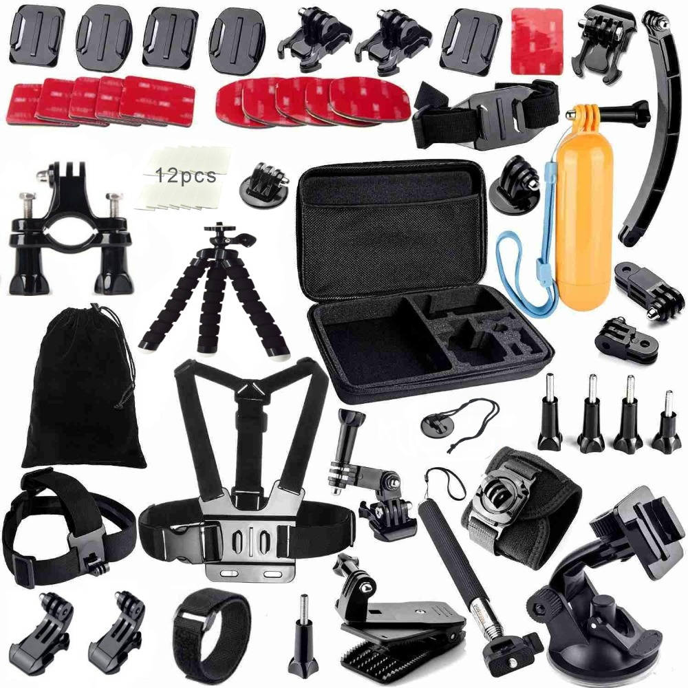 Gopro Accessories Set Helmet Harness Chest Belt Head Mount Strap Monopod For Go pro Hero 4 3+ 2 1 xiaomi yi sjcam sj4000 GS13