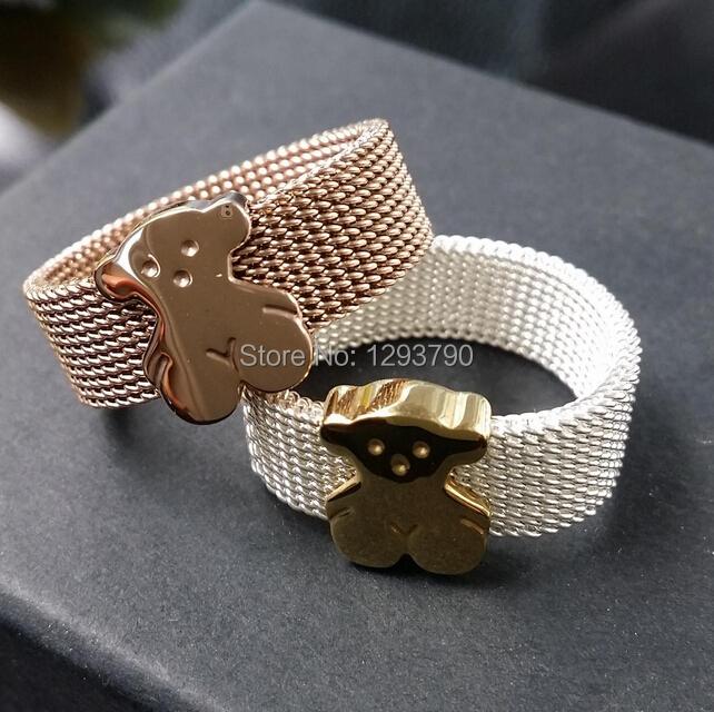 2015 new top quality mesh bear rings titanium unisex jewelry lover's ring fri016(China (Mainland))