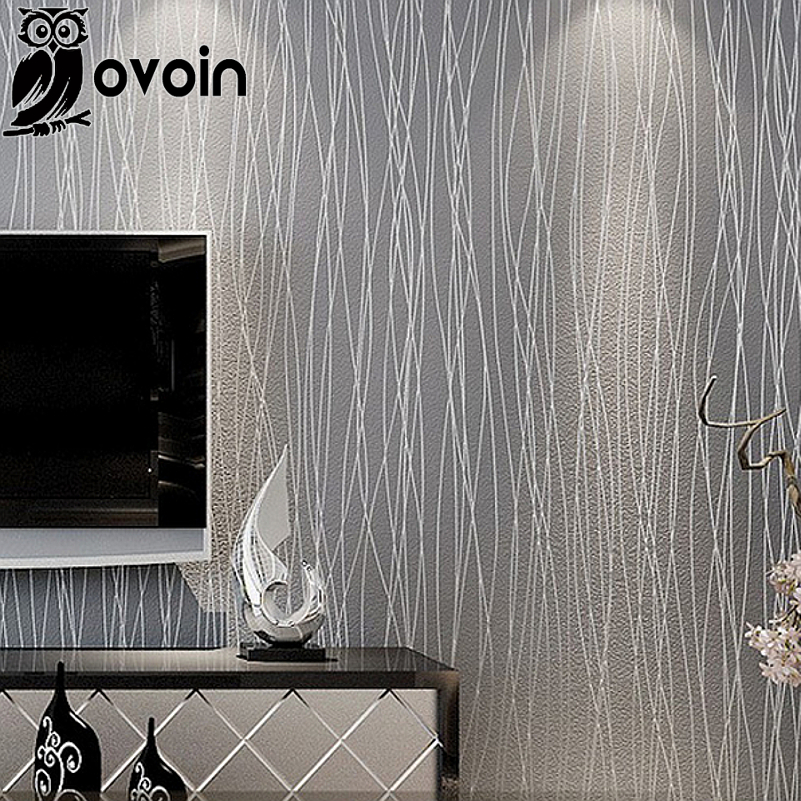 Woven Fashion Thin Flocking Vertical Stripes Wallpaper For Living Room