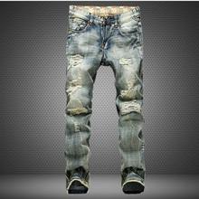 2018 Nova Moda Rasgado calças de Brim Dos Homens Patchwork Oco Out Impresso Demin Calças Mendigo Calças Cortadas Homem Cowboys Masculino Dropshipping(China)