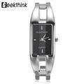 GEEKTHINK Luxury Brand Quartz Watch Women rectangle Stainless steel band female clock Bracelet Lady Casual Wristwatch