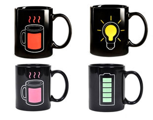 Novelty Cup battery color cup magic puick changing mug discoloration ceramic coffee - Creative Gifts Ltd store