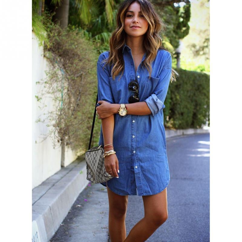 New Fashion Women Casual Long Sleeve Mini Shirt Dress Denim Long Blouse Tops Dress(China (Mainland))