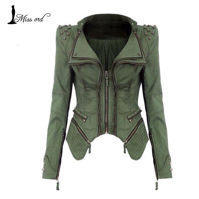 Бесплатная доставка 2014 мода тонкий заклепки молния куртка пальто FT1385