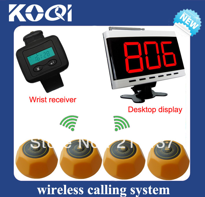 Beauty salon call pager system of 1 desktop display pager and 2 alpha pagers and 10 table bells DHL free shipping(China (Mainland))