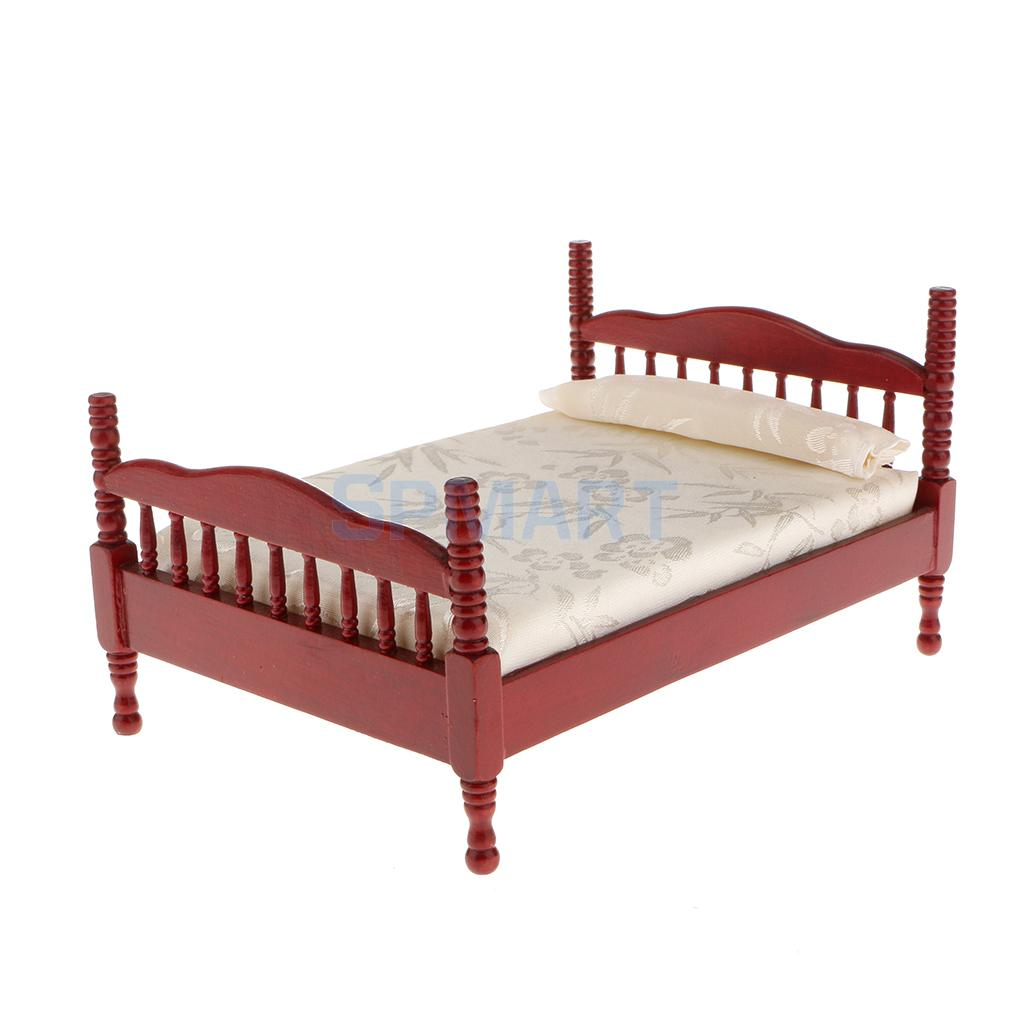 1/12 Dollhouse Miniature Bedroom Furniture Double Bed with Mattress Pillow(China (Mainland))