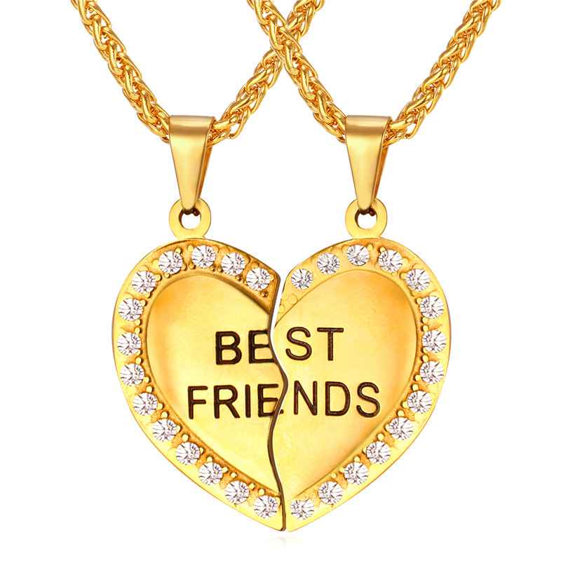 Heart Couple Pendent & Necklace Women Jewelry Stainless Steel Gold Plated 'Best Friend' Necklaces Pendants Wholesale Jewelry P34(China (Mainland))