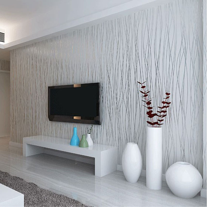 non woven fashion thin flocking vertical stripes wallpaper ForGrey Silver Wallpaper Living Room