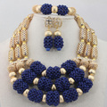 2016 African Wedding Gold Silver Mix Royal Blue 3 rows Coral Beads Jewelry Sets Necklace African