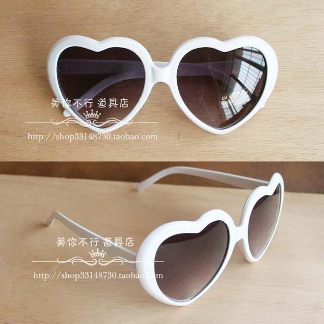 Studio props heart glasses heart-shaped glasses love glasses heart glasses white