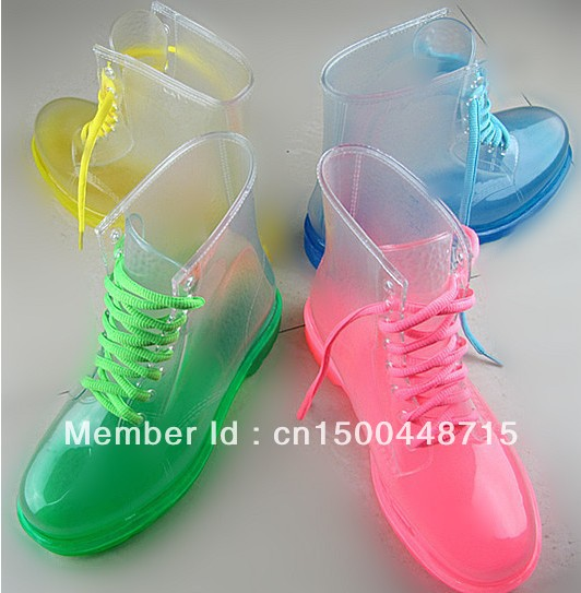 !2013 PVC Transparent Womens Colorful Crystal Clear Flats Heels Water Shoes Female Rainboot Martin Rain Boots - Beyonca bai's store