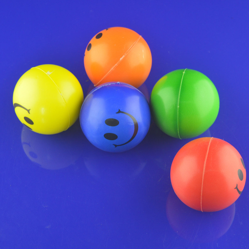 3pcs/lot Free Shipping 12pcs/lot Happy Smile Face Stress Relief Foam Bouncy Squeeze Ball Toys Gift PG(China (Mainland))