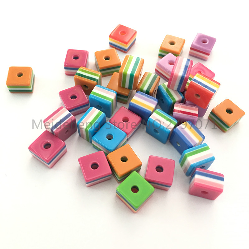 50pcs solid colours round striped resin beads 6mm
