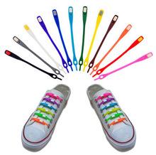 12 unids/lote productos 2015 de moda elásticos coloridos cordones de silicona ( No hay necesidad de back to back tie ) cordones flojos para zapatillas de deporte con el paquete(China (Mainland))
