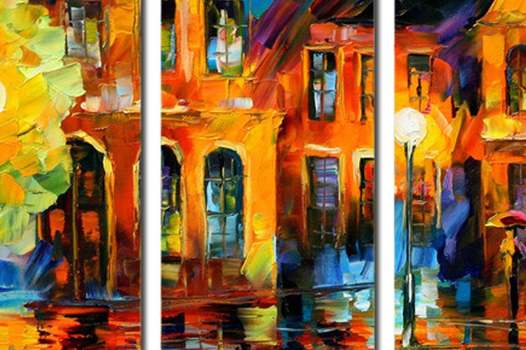 Buy 5 panel wall decor modern art set Beautiful city street scenery palette knife hand painted Oil carving knife Painting on Canvas cheap