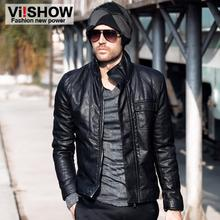 Viishow Male motorcycle men's leather clothing PU male outerwear male slim leather jacket men's clothing for 5613054(China (Mainland))