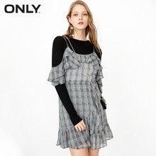 Только осеннее шифоновое клетчатое платье с цветочным принтом с асимметричным хвостом, двухслойное платье с оборками   118107676(China)