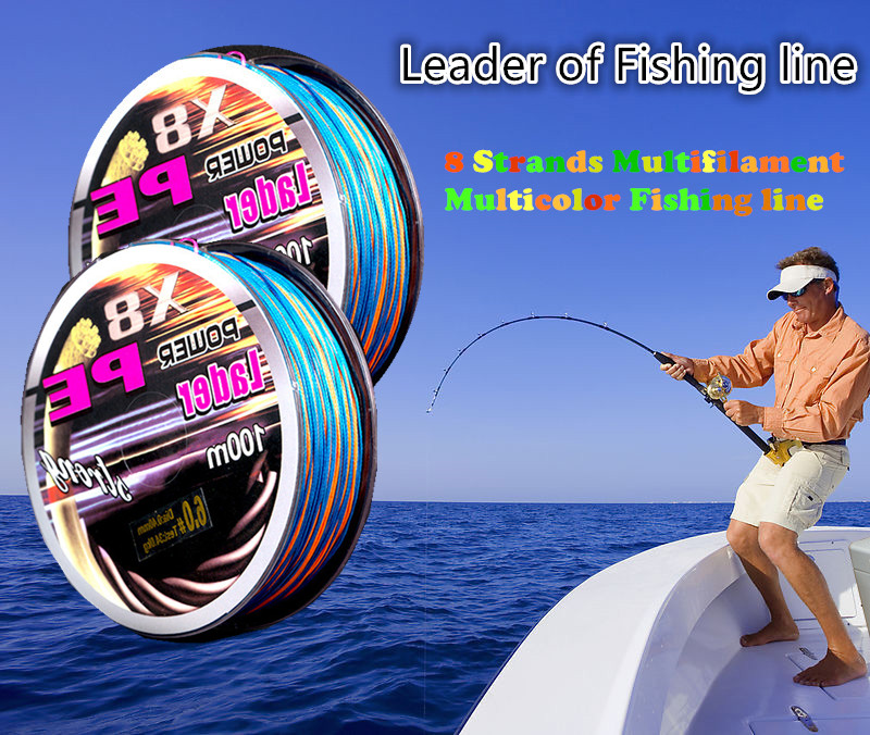 100M Multicolor High TECH Super PE Braided Fishing Line 8 Strands Multifilament Fishing Wire Fish Line 18-100LB 604(China (Mainland))